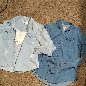 Bundle of blue jean shirts